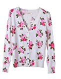 PrettyGuide Women V Neck Floral Print Cardigan Sweater Knitwear Cotton