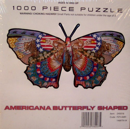 Americana Butterfly Shaped Jigsaw Puzzle