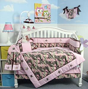 SOHO Pink Camo Baby Crib Nursery Bedding Set 13 pcs included Diaper Bag with Changing Pad & Bottle Case, Reservable use of both comforter and bumper (starts at 5/5/14)