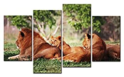 Canval prit painting Animal Wall Art Digital Picture Some Lions Have a Rest on the Steppes 4 Pieces Picture on Canvas