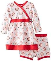 Offspring - Baby Apparel Girls Newborn Rondelle Dress And Panty Set, White Print, 6 Months