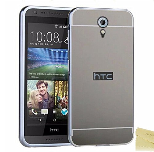 D-kandy Luxury Aluminium Bumper With Mirror Acrylic Back Cover For Htc Desire 620 620G - BLACK