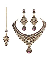 I Jewels Traditional Gold Plated Bridal Jewellery Set With Maang Tikka For Women - B00W87KPFS