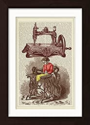 Sewing Machine Dressmaker Ready To Frame Mounted /Matted Dictionary Art Print