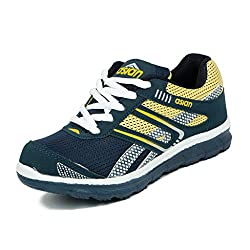 Asian shoes Zoom-1013 Navy Blue Yellow Mesh KIDS Shoes 3UK/Indian