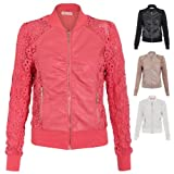 Womens Retro Floral Crochet Lace PU Leather Zip Up Bomber Biker Jacket Coat by NYC Leather Factory Outlet