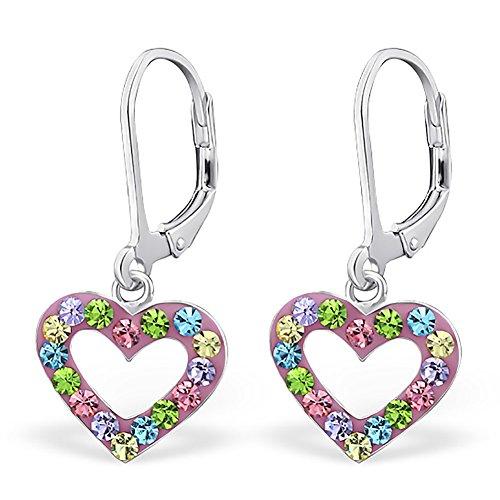Silvinity-925-Silber-Ohrringe-Kinder-rosa-bunt-Kristall-Ohrhnger-Herzen-mit-Brisur-Verschluss-28x12mm-SV-213-BU