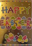 EASTER CARD SILVER FOILED - HAPPY EASTER - EGGS & BABY CHICKENS