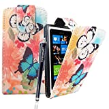 CONTINENTAL27 Nokia Lumia 800 Various New Premium Quality Printed PU Leather Stylish Card Holder Magnetic Closure Secure Horizontal / Vertical Top Side Open Wallet Book Flip Case Cover + FREE STYLUS PEN AND SCREEN PROTECTOR (Ultra Butterfly Style 1 Flip)