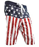 USA American Flag Distressed Mens Boardshorts (Adult Large)