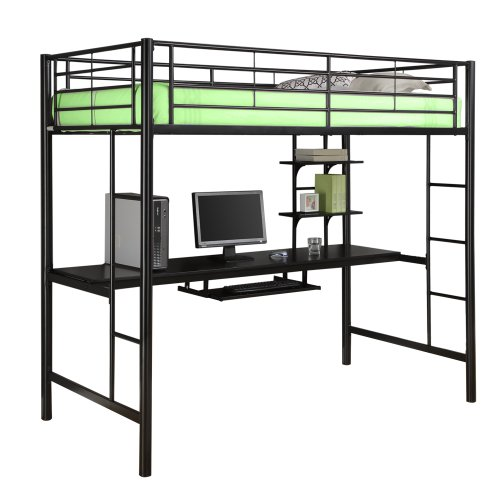 WE Furniture Sunset Metal Twin/Workstation Bunk Bed - Black