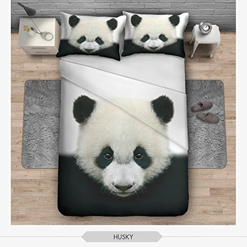 OJIA 3D Prints Beautiful 100% Cotton 3-Piece Cute Panda Bedding Sets 1x Duvet Cover and 2x Pillow Covers Twin Size
