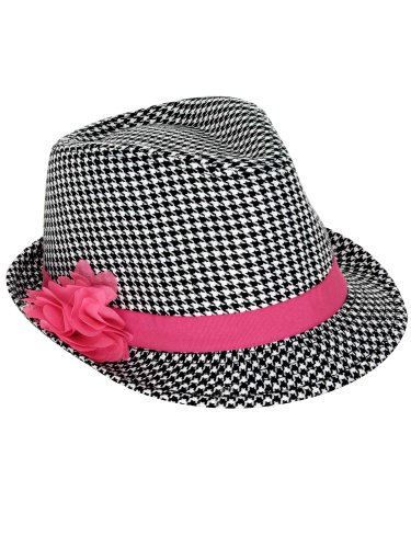 386d00140d1a2 Simplicity Children s Houndstooth Fedora Trilby Derby Hat Cap with Flower L  XL