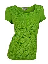 Jones New York Lace Overlay Henley Shirt (Lime Green, Small)