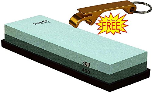 DeBell Sharpening Stone Double Side 400 Grit and 800 Grit with Silicone Base (Razor Edge Sharpening Stone compare prices)