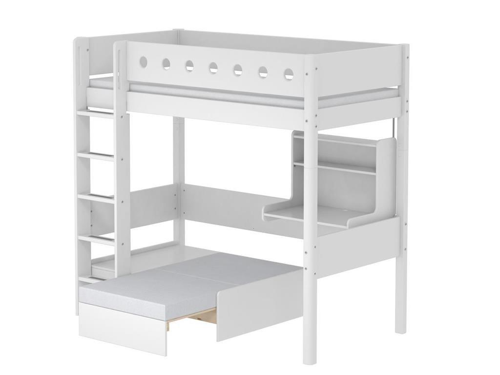 Hochbett Casa Weiß mit Gerader Leiter und Schreibtisch, 90x190cm, Flexa White günstig kaufen