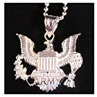 US Army Pendant Necklace - .925 Sterling Silver Chain - United States Army Military Jewelry - USA