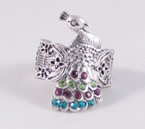 Silver Tone Peacock Stretch Ring with Colorful Genuine Crystals