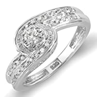 0.25 Carat (ctw) Sterling Silver Round Diamond Ladies Promise Engagement Bridal Ring 1/4 CT by DazzlingRock