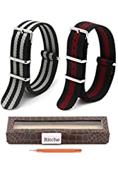 2pc 22mm Nato Ss Nylon Striped Black/Red,Black/Gray Interchangeable Replacement Pebble Lg Watch Band
