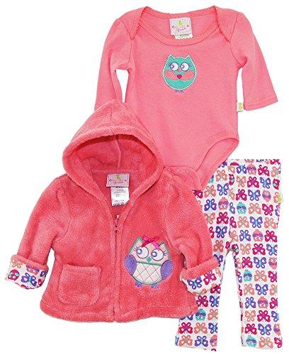 duck-goose-baby-girls-owl-sherpa-hooded-jacket-bodysuit-3pc-leggings-set-coral-3-6-months