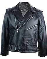 Homme 100% cuir véritable style Brando Classic Retro Biker Jacket Noir