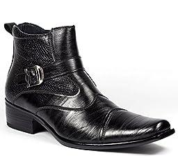 Delli Aldo Men\'s Black Buckle Strap Ankle High Dress Boots Shoes 10.5