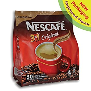 NEW! Nescafé IMPROVED 3 in 1 ORIGINAL (was REGULAR) Premix Instant Coffee - Taste Creamier & More Aromatic - Don't Need Creamer & Sugar Anymore - Coffee On The Go, Make Your Life Easier - 19g/Stick - 30 Sticks TOTAL