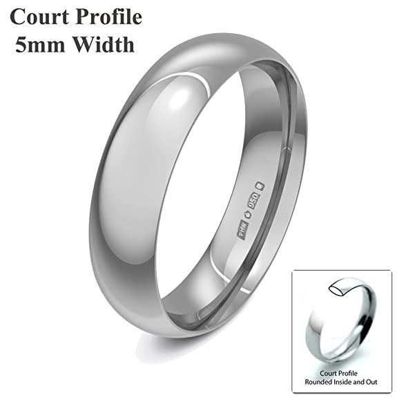 Xzara Jewellery - Palladium 950 5mm Light Court Hallmarked Ladies/Gents 3.0 Grams Wedding Ring Band