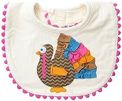 Mud Pie Baby-Girls Newborn Turkey Bib, White, One Size