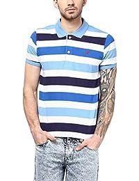 American Crew Men's Polo Collar Stripes T-Shirt (Sky Blue, White, Navy Blue & Royal Blue)