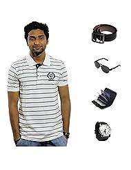 Garushi White T-Shirt With Watch Belt Sunglasses Cardholder - B00YML4ZAO