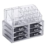 Amzdeal Clear Makeup case drawers Cosmetic Organizer Jewelry storage Acrylic cabinet Box