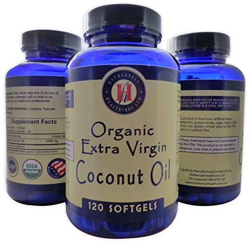 Coconut Oil Capsules MCT Oil ORGANIC EXTRA VIRGIN Coconut Oil 120 1000mg RAW COLD PRESSED NON-GMO Essential MCFA's Gluten Free Salt Free Coconut Oil Softgels Dietary Supplement for Women and Men (Acid Capsules Extra compare prices)
