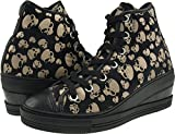 Maxstar Round Lace High-top Zipper Skull Patterned Wedge Low Heels Shoes
