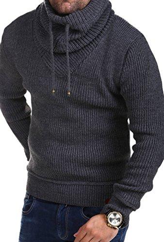 MT Styles Strickpullover mit Schalkragen M-1520 [Dunkelgrau, M]