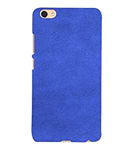 PrintVisa Blue Leather Design 3D Hard Polycarbonate Designer Back Case Cover for VIVO X7