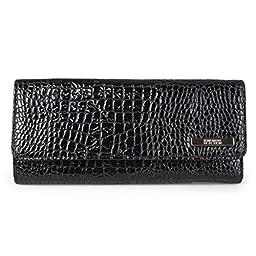 102527-773 Kenneth Cole Reaction Patent Croc Tri Me A River Wallet (BLACK P.DOTS LINING)