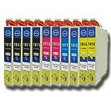 N.T.T.� 10 x St�ck XL Druckerpatronen / Tintenpatronen kompatibel zu T1811-T1814 Epson Expression Home XP-102 ; XP-202 ; XP-205 ; XP-30 ; XP-302 ; XP-305 ; XP-402 ; XP-405 ; XP-405WH; XP-212 ; XP-215 ; XP-312 ; XP-315 ; XP-412 ; XP-415