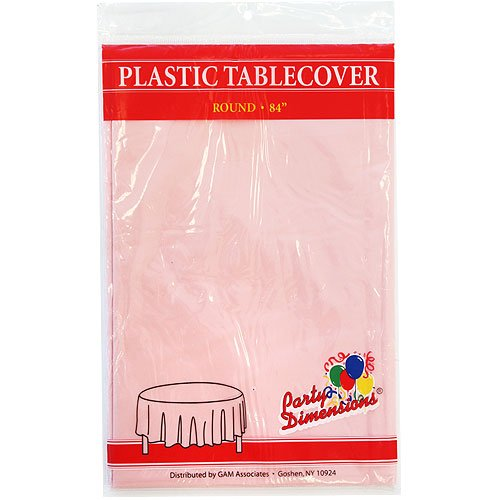 "Party Dimensions Pink 84"" Inch Round Plastic Tablecover, Pink - 1"