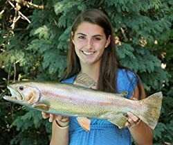 "Giant Taxidermy 24"" Fiberglass Rainbow Trout Fish Mount"