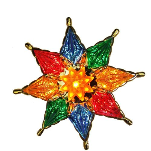 Kurt S. Adler 10-Light 8-Point Star Christmas Tree Topper With Gold Framed Waterlily