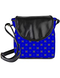 Snoogg Golden Blocks Blue Pattern Womens Sling Bag Small Size Tote Bag