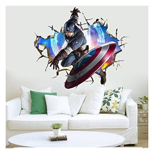 Captain America Marvel Avengers Wall Stickers Kids Room Decor Decal Super Hero (Super Heroes Avengers)