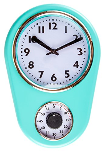 Retro Kitchen Timer Wall Clock, Torquise. By Lily's Home 0