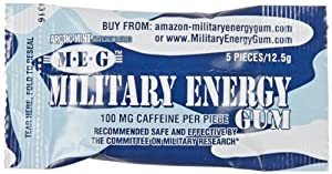 MILITARY ENERGY GUM (MEG) - Military Spec Formula - Used in Military Rations - ARCTIC MINT - TRAY (24 packs - 5pcs/pk) 100mg caffeine/pc