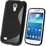 igadgitz S Line Negro Case TPU Gel Funda Cover Carcasa para Samsung Galaxy S4 SIV Mini I9190 I9195 Android Smartphone + Protector de pantalla