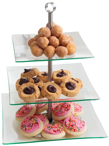 Chef Buddy 3-Tier Square Glass Buffet and Dessert Stand