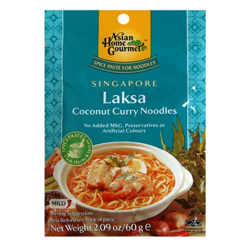 Buy Asian Home Gourmet Singapore Laksa Coconut Curry Noodle Soup Mix, 2.09 Ounce Pouch (Pack of 12)