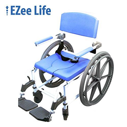 Healthline Ezee Life Aluminum Shower Commode, Self-Propelled